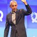Barack Obama waves goodbye on stage at founders conference Bits & Pretzels in Munich