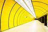 A Different Journey (Sean Batten) Tags: munich bavaria germany eu europe tunnel yellow metro subway underground tube marienplatz d800 nikon 1424 wideangle wide vanishingpoint people lights ubahn
