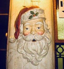 Lancaster Train Station Santa Head Mask 2697A (Brechtbug) Tags: lancaster train station santa head mask decoration 2011 pa pennsylvania bus facade decorated for christmas holiday with clock transportation architecture building railroad trains buses profile amtrak