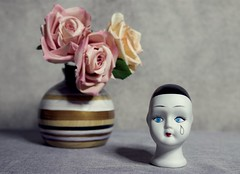 Wooden vase with Flowers and Porcelain Doll Head (DayBreak.Images) Tags: tabletop stilllife wooden vase flowers roses porcelain doll head canondslr lomography neptune despina 50mm ringlight photoscape texture