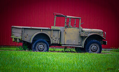 retired military truck (ttounces) Tags: old military truck barn ttounces jan expired antique red contrast green brown colours retired