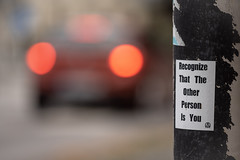 Recognize that the Other person is You (Dannis van der Heiden) Tags: yogibhajan malmö streetlight taillights dof shallowdeptoffield wisdom sweden nikond750 d750 tamron70210mmf4 recognize selfreflections sticker