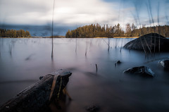 Wood (mabuli90) Tags: finland lake water forest tree longexposure autumn rock grass