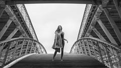 Shooting Star (sdupimages) Tags: blackwhite noirblanc noiretblanc portrait woman girl perspective bridge bw nb monochrome street rue femme feminine model parisienne