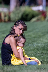 Mother-daughter (alfredo.rossitto) Tags: grass yellow eyes dress daughter mother green child candid