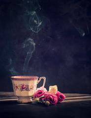 My little teacup (Ro Cafe) Tags: stilllife flowers lisianthus tea cup steam naturallight dark darkmood sunlight textured nikkor105mmf28 sonya7iii