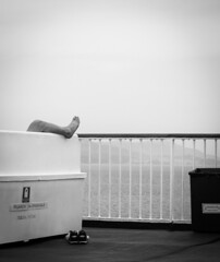 Resting foot syndrome (Bjoernsen.r) Tags: sea seascape adriaticsea croatia foot feet boat deck travel blackandwhite blackwhite bw rail bench floor rubber harmonic chilling resting nap napping shoes sun outside europe summer canon 5d markii mood water waves cool