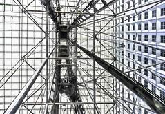 Ascenseur pour l'échafaudage … (Le.Patou) Tags: paris building architecture modern lift elevator perspective line parvis ladéfense bottomup grandearche fz1000 square graphic gray