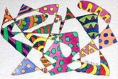 Watercolor Painting (Imara U.) Tags: watercolor watercolors pintura aquarela art arte artista artist abstract painting pattern patterns pen colorful colors color colorido cores cor curves creation creative curvas circles caneta contemporaryart