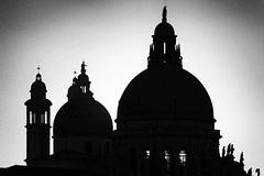 Salute (Francis Mansell) Tags: church dome tower statue backlit building architecture monochrome blackwhite niksilverefexpro2 grainy venezia venice italy
