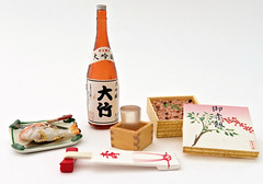 Traditional Japanese Cuisine # 3 (MurderWithMirrors) Tags: rement miniature food meal sake glass chopstick chopstickrest rice fish box plate dish washokuzanmai salmon seabass mwm