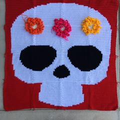 The Day of the Dead yarn bomb with three large crochet flowers A (crochetbug13) Tags: crochet crocheted crocheting crochetyarnbomb crochetdayofthedeadyarnbomb dayofthedead yarnbomb crochetflower