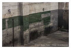 Photograph of 5 and 6 Downstairs in the Parking Lot while the Party Was Going On Upstairs (5 Came to the Party with 4, and 6 Came with 7) (Doyle Wesley Walls) Tags: lagniappe 5378 five six numbers green colors dirty title font doylewesleywalls