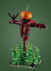 The Ineffective Scarecrow (dviddy) Tags: lego legomoc moc bionicle bioniclemoc fall autumn scarecrow pumpkin gourds harvest dviddy bzpower bzp deevee crow birds fields afol afols