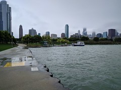 Arrival (ancientlives) Tags: chicago illinois il usa chicagoparks lakemichigan lakefronttrail lakeshore lake museumcampus sheddaquarium taxi watertaxi skyline skyscrapers city cityscape towers architecture weather rain sunday september 2019 autumn