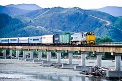 082 Diesel Electric train (Awesome Image Maker NZ) Tags: canonslidebestof coastalpacific flickr slides train wairauriver bridge diesellocomotive