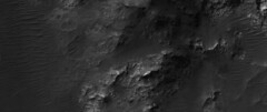 Martian Mountains + Sand Dunes (sjrankin) Tags: 30september2019 edited nasa mars mro marsreconnaissanceorbiter grayscale esp0609781555 hills mountains sanddunes