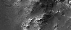 Martian Mountains + Sand Dunes, variant (sjrankin) Tags: 30september2019 edited nasa mars mro marsreconnaissanceorbiter grayscale esp0609781555 hills mountains sanddunes