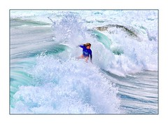 The Champ (Christina's World :) Tags: realpeople surfer girl sandiego scenic sea seashore ocean socalifornia competition oceanside sports waterscene watersports waves 9109 white blue fragiletouch topaz