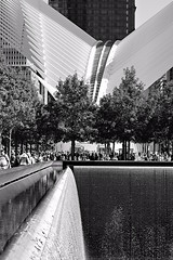 Checking a6300 w/ adapted MF Nikon 55 (sjnnyny) Tags: worldtradecenter stevenj sjnnyny lowermanhattan bw mono touristsite fountain oculus landscapearchitecture nyc visitny a6300 micronikkor5528ais