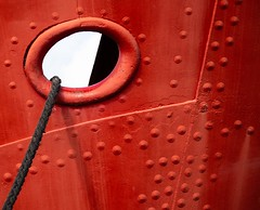 Rope (ainz1607) Tags: red abstract texture lines metal closeup boat ship hole circles angles olympus rope minimal studs omd em10 eye spots