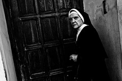 Nun Candid (Victor Borst) Tags: street streetphotography streetlife reallife real realpeople bratislava expression europe expressions eye contact mono monotone monochrome blackandwhite bw religious candid city cityscape citylife faces face fuji fujifilm xpro2 nun