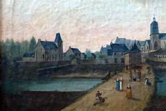 A gauche, l'ancien manoir de Vaugeslan sur la peinture ex-voto de 1814