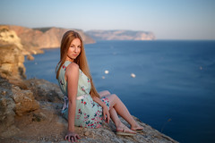 Olya (The Interpreter) (mikhailkorzhalov) Tags: canon 6d sigma sigma35mmf14dghsmart 35mm f14 nature naturallight sevastopol crimea sea seascape water mountain sunset sunsetlight rocks stones blue clearsky model lady girl beautifulgirl beautifulpeople cute cutegirl posing sitting outdoors longhair woman skin legs pretty adult adultsonly dress