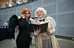 Crowley and his Angel (Tranquil Night) Tags: goodomens crowley aziraphale angel demon agnusnutter comiccon comicconsydney ozcomiccon2019 ozcomicconsydney2019 sydney australia cosplay cosplayers