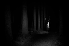 appearance (the ripped bystander) Tags: blackwhite forest night female dance darkness