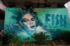 fish girl (monkeyc.net) Tags: brisbane monday exploration westend grafitti street streetart walls signs murals eos m50 mirrorless stickers