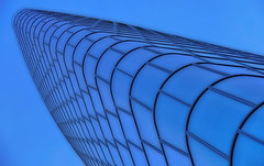 architecture & blue (christikren) Tags: austria architecture abstract building christikren colour facade blue blau geometry glass himmel linescurves modern vienna wien windows structures lookingup perspektive minimalism innamoramento international city tower
