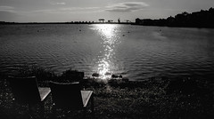 Sunrise over Cardiff Bay - HBM! (Jo Evans1 - off and on for a while) Tags: cardiff bay yacht club bench monday barage sunlight water silhouettes
