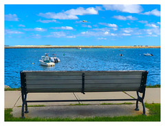 Bench, Boats and Blimp (Timothy Valentine) Tags: ocean large bench 0919 sky beach boats 2019 monday plymouth massachusetts unitedstatesofamerica