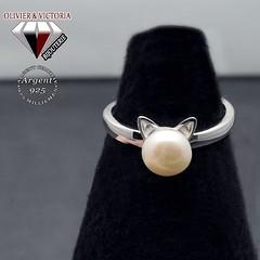 Bague perle d'eau douce chat en argent 925 (olivier_victoria) Tags: argent 925 oreille bague ajustable perle chat blanche unique taille