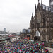 Text Fridays For Future and climate change protest in rainy weather at Domplatte in Cologne, Germany