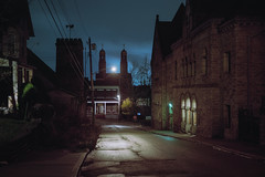 (patrickjoust) Tags: fujica gw690 kodak portra 160 6x9 medium format 120 rangefinder 90mm f35 fujinon lens cable release tripod long exposure night after dark manual focus analog mechanical patrick joust patrickjoust usa us united states north america estados unidos small town steel braddock pennsylvania pa church spire street light library architecture building clouds pittsburgh metro area wet white green carnegie