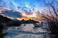 Sunset at Lake Bafa (faktor1komma5) Tags: faktor1komma5 turkey gölyaka bafagölü lakebafa sunset lake blue orange clouds sun water boat rocks