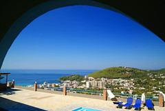Himara (Elton_13) Tags: blue sea pool arch view polarizer albanianriviera sonydslr