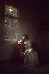 Window's Light ({jessica drossin}) Tags: woman jessicadrossin face portrait indoors room window light dress white trees frame lonely wwwjessicadrossincom