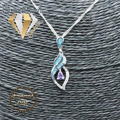 Pendentif brillance d'opale infini en argent 925 (olivier_victoria) Tags: argent 925 pendentif zircon chaine brillant noeud amour infini opale huit