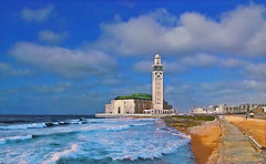 AFRICA - Casablanca - Hassan II Mosque (Jacques Rollet (Little Available)) Tags: africa casablanca mosque mosquée sea mer wave vague ocean océan plage beach ciel sky nuage cloud groupenuagesetciel fabuleuse
