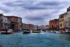 Canal Grande - Grand Canal (Eugenio GV Costa) Tags: approvato venice venezia laguna vaporetti gondole gondolas water lagoon sea clouds italy