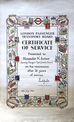 London Passenger Transport Board - certificate of service presented to A M Suters, 16 July 1946 (mikeyashworth) Tags: mikeashworthcollection ephemera londontransport londonpassengertransportboard certificateofservice decorativecertificate lordashfield 1946 alexandermsuters operatingmanagersdepartmentcentralbuses londonunderground tubetrain londonbuses centralareabuses countryarebuses greenlinecoaches londontrams londontrolleybuses ltpowerstations greenwich neasden lotsroad charlesholden mercury strongforservice holdenbusshleter southgatetubestation 55broadway westinghousesignals countyoflondon essex kent hertfordshire middlesex sussex bedfordshire surrey berkshire buckinghamshire certificate calligraphy lettering type typography typeface graphicdesign