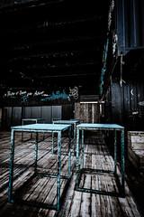 Lets have a party tonight (vale0065) Tags: blue blauw sommar hangar 26 27 summerbar sundeck drinks party food rijnkaai cocktail antwerpen antwerp quay outdoor enjoy buiten plezier fun nightlife nachtleven table tafel wood hout vloer floor belgium belgië industrial industrieel popup harbor haven port kaai docks dock dok dokken schelde scheldt hangaar loods dance dans hangare