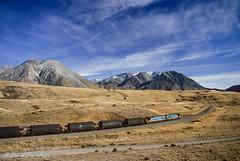 104 Coal train near Cass (Awesome Image Maker NZ) Tags: canonslidebestof cassbank coal flickr flickr2 landscape mountains slides train diesellocomotive doubleheaded