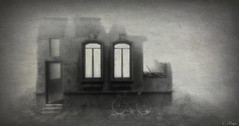 Bike In Ruins (Afflatus Exhibit - Edge Art Gallery) (Loegan Magic) Tags: secondlife landscape ruins building bike vintage blackandwhite
