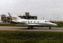F-GELA Dassault Falcon 10 cn 16 Turbomeca - Regourd Aviation Luton 20Mar90 (kerrydavidtaylor) Tags: ltn eggw bedfordshire londonlutonairport