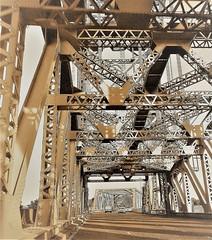 Newport Bridge - Middlesbrough (Gilli8888) Tags: northeast cameraphone galaxy s7 newportbridge bridge middlebrough teeside angles geometry rivertees tees monochrome girders
