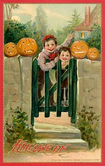 Halloween Pumpkinheads at the Gate (Alan Mays) Tags: ephemera postcards halloween boys paper children cards holidays pumpkins greetings printed jackolanterns greetingcards october31 pumpkinheads old red orange green smiling gates antique smiles illustrations grinning 1912 1910s waving borders vintage typography type fonts 174 typefaces tuck postcardseries raphaeltuck raphaeltucksons halloweenseries postcardpublishers series174 stones steps walls